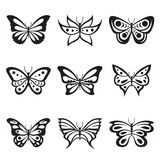 Black Animal Insect butterfly tattoo and silhouettes Icon Vector Royalty Free Stock Images