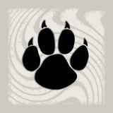 Black animal paw print isolated on pattern. Animal paw prints icons. Creative background Stock Image