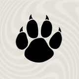 Black animal paw print  on pattern. Animal paw prints icons. Creative background Stock Photo