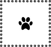 Black animal pawprint icon framed with paw prints  border. Black animal pawprint icon framed with paw prints square border isolated on white background. Vector Stock Images