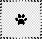 Black animal`s paw print icon framed with paws Stock Image