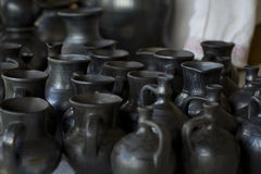 Black annealed clay pitchers Stock Image