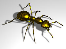 Black ant. Ant in dark gold, 3d Illustration Stock Image