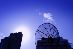 Black antenna communication satellite dish Royalty Free Stock Photography