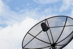 Black antenna communication satellite dish Stock Images