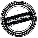 Black ANTI CORRUPTION distressed rubber stamp with grunge texture. Illustration Stock Images