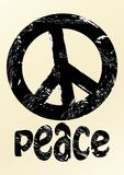 Black anti war symbole in grunge style with inscription peace on beige background.  Stock Photography