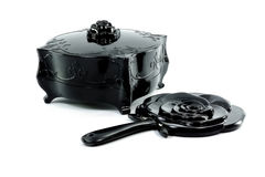 Black antique old box with black mirror Royalty Free Stock Photo