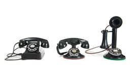Black Antique phones on a white background Royalty Free Stock Photography