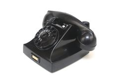 Black Antique Telephone Side View Royalty Free Stock Images