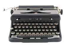 Black Antique Typewriter Front View Stock Image