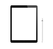 Black Apple iPad Pro portable device with pencil. Black Apple iPad Pro portable device mockup with pencil Royalty Free Stock Photos