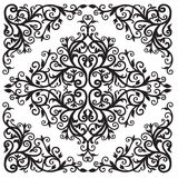 Black_arab02-02. Background in  square with  Arab floral. Black and white graphics Royalty Free Stock Images
