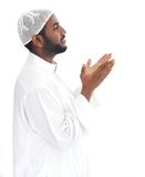 Black arabic man praying Royalty Free Stock Photo