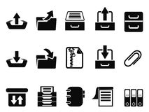 Black Archive icons set. Isolated black Archive icons set from white background Royalty Free Stock Photography