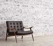 Black armchair against of brick wall 3d rendering. Interior with black leather armchair against of white brick wall 3d rendering Stock Image