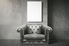 Black armchair and blank poster Royalty Free Stock Photography
