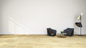 Black Armchair 3D Illustration. For Background Stock Images