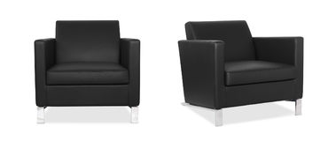 Black Armchair in two angles. On white background Royalty Free Stock Images
