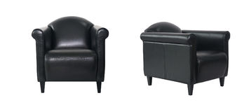Black Armchair in two angles. On white background Royalty Free Stock Photo