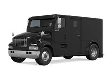 Black Armored Truck Isolated. On white background. 3D render Stock Photo