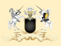 Black arms. Heraldic composition with black arms, stripe and knights Stock Images