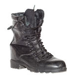 Black army boot over white Royalty Free Stock Photography