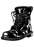Black army boot. Vector illustration black leather army boot Stock Photo