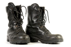 Black army boots. On a white background Stock Images