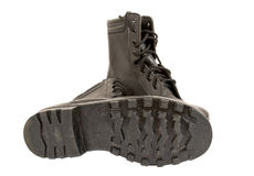 Black Army boots. On white background Royalty Free Stock Photos