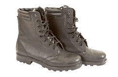 Black Army boots. On white background Stock Images