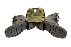 Black Army boots and cap Stock Photo