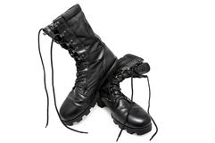 Black army shoes Royalty Free Stock Photography