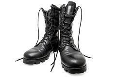 Black army shoes Royalty Free Stock Photos