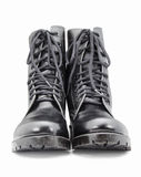 Black army shoes  on white backgrounds Stock Photography
