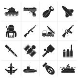 Black Army, weapon and arms Icons. Vector icon set Stock Images