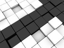 Black arrow. Surface consisting of 3d black and white squares Stock Photography