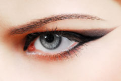 Black arrow. Make-up style of arrow. Woman eye with fashion desing Royalty Free Stock Images