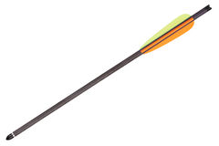 Black Arrow for Crossbow with colored feathers  Royalty Free Stock Images