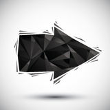 Black arrow geometric icon made in 3d modern style, best for use. As symbol or design element Royalty Free Stock Photo