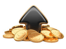 Black arrow upward and golden coins Royalty Free Stock Photo