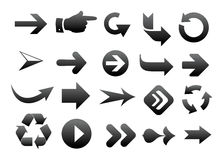 Black arrows. Collection of vector arrow on white background