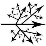 Black arrows. As a concept or making different choices and taking different roads in life and career Stock Image
