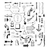 Black arrows set on white background Royalty Free Stock Images