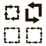 Black arrows with turns to form squares. Black arrows turns form a square on a white background Royalty Free Stock Image