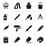 Black Art and painter icons. Vector icon set stock illustration