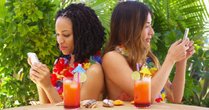Black and Asian best friends on vacation using mobile phones. Outdoors Stock Photo