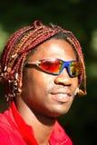 Black athlete cyclist. With sunglasses Stock Photo
