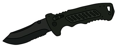The black attack bowie. The vectorized hand drawing of a black tactical  clasp knife vector c0a1ea18916f