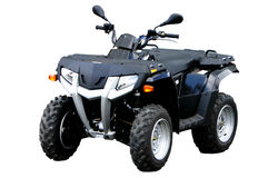 Black ATV. Black four wheel drive all terrain vehicle isolated Royalty Free Stock Image